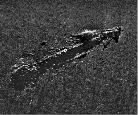 Side scan sonar image of Paul Palmer's remains.