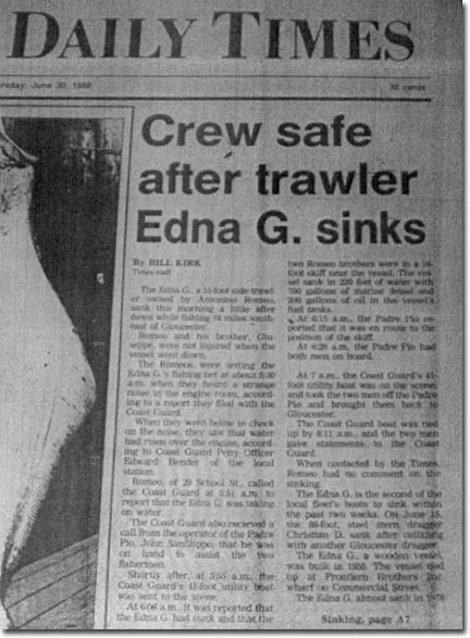 Gloucester Daily Times article about Edna G