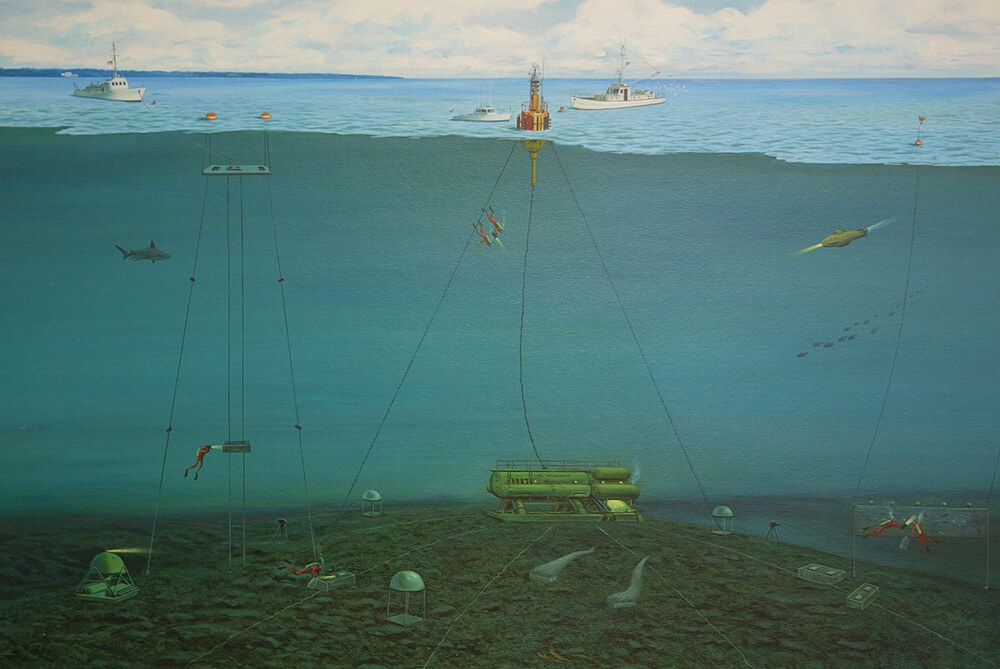 a pointin showin buoys with cables running down to contraptions on the sea floor