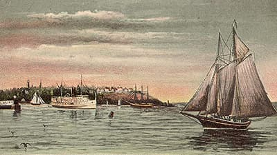 drawn postcard of the steamer portland leaving the harbor