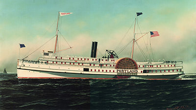 Painting of a white steamship